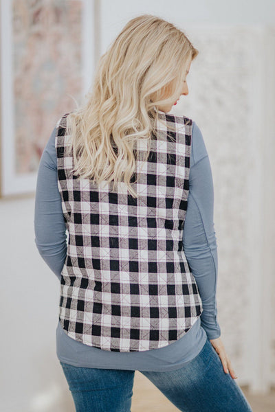 Extreme Adventures Quilted Plaid Reversible Vest in Grey - Filly Flair