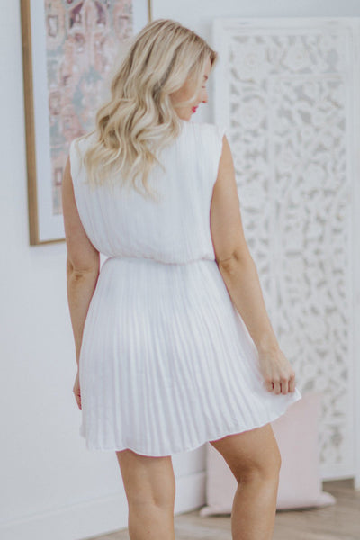 Please Stay Forever Pleated Sleeveless Tie Waist Midi Dress in White - Filly Flair