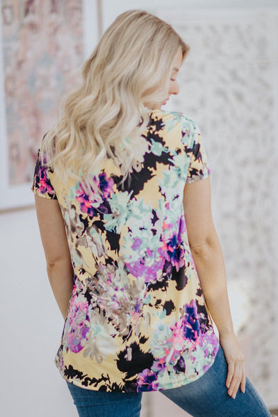 Mind Blowing Floral Short Sleeve Top in Yellow - Filly Flair