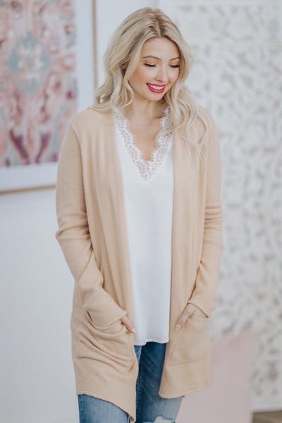 Amaze Me Forever Long Sleeve Cardigan In Beige - Filly Flair