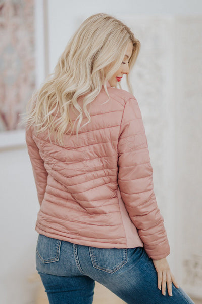 Allow For Delays Puffy Zip Up Jacket in Mauve - Filly Flair