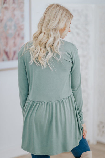 See Your Beauty Long Sleeve Cardigan In Sage - Filly Flair
