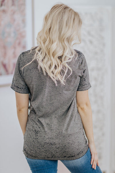 """Fearless"" Acid Wash Short Sleeve Tee in Heathered Charcoal - Filly Flair"