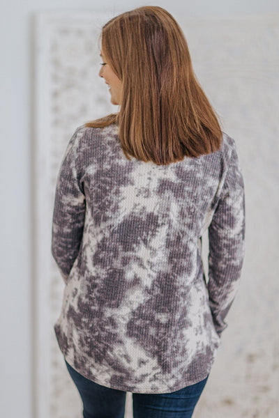 Be Satisfied Tie Dye Waffle Long Sleeve Top in Charcoal - Filly Flair