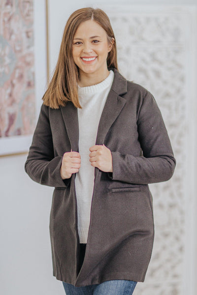 Empower Others Lapel Collar Pockets Long Sleeve Jacket in Black - Filly Flair