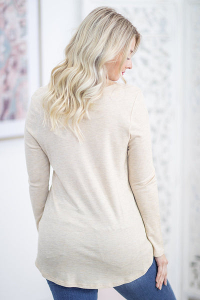 Never Stop Looking Waffle Strap Neckline Long Sleeve Top in Oatmeal - Filly Flair