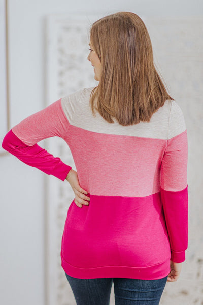 See the Beauty Color Block Long Sleeve Lace Pocket Top in Pink - Filly Flair