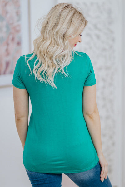 """Sassy Lassie"" Clover Short Sleeve Top in Jade - Filly Flair"
