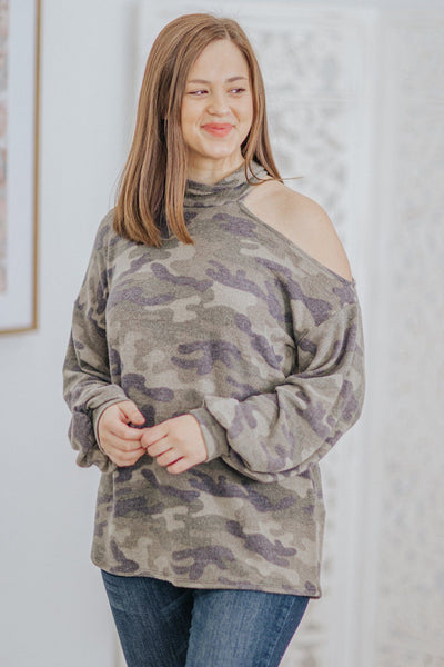 Fierce and Wild Women One Shoulder Long Sleeve Top in Green Camouflage - Filly Flair