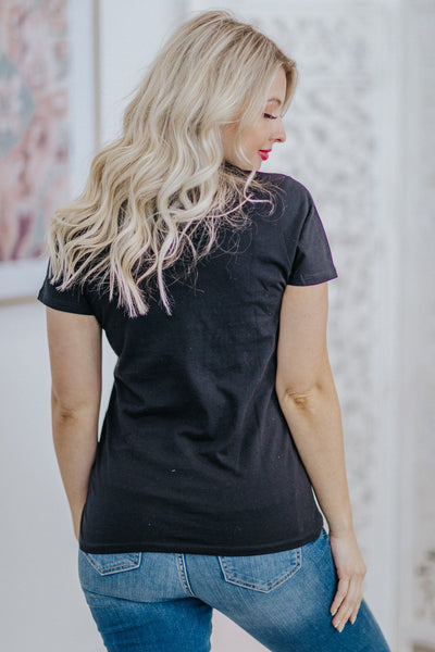 'Raising A Wild Thing' Graphic Tiger Short Sleeve Tee in Black - Filly Flair