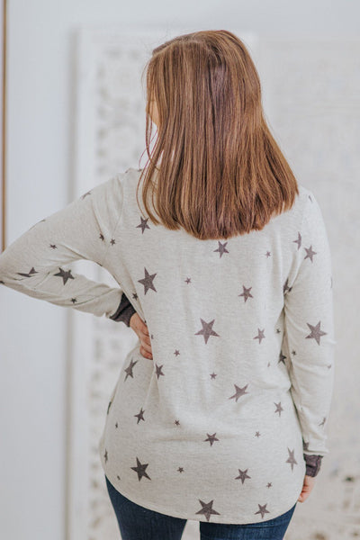 For Eternity Star Detail Contrast Hem Long Sleeve Top in Grey - Filly Flair