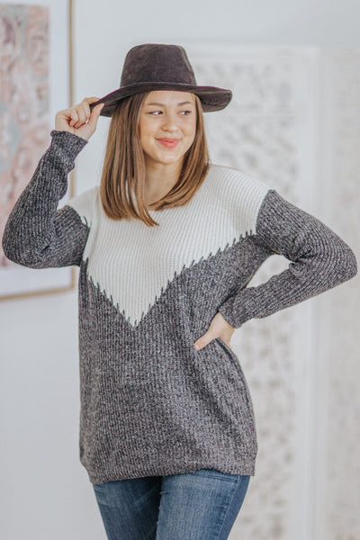 All About The Dreaming Color Block Long Sleeve Sweater in Black - Filly Flair