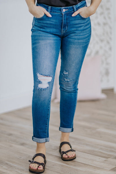 Kassiopia KanCan Mid Rise Medium Wash Cuffed Ankle Skinny Jean - Filly Flair