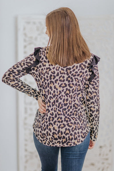 Free Me Leopard Ruffle Shoulder Detail Long Sleeve Top in Taupe - Filly Flair