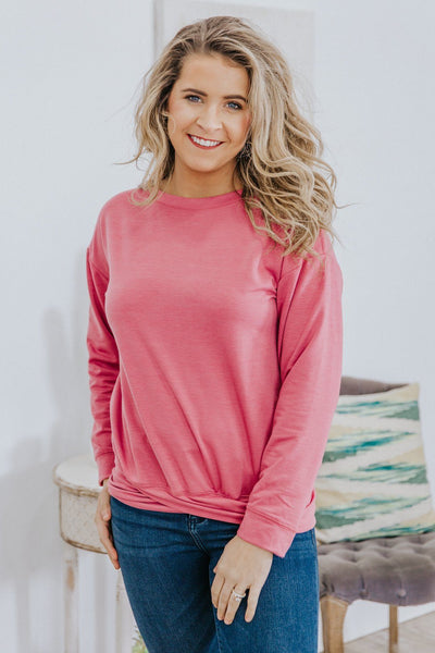 *DEAL* Come Snuggle Overlap Hem Long Sleeve Sweater in Dark Mauve - Filly Flair