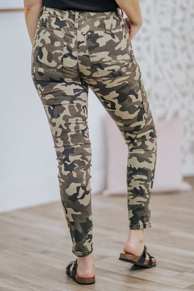 Karlah KanCan Mid Rise Zipper Detail Super Skinny Jean in Camo - Filly Flair