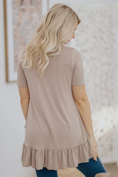 Let's Go Shopping Ruffle Hem Short Sleeve Tunic Top in Ash Mocha - Filly Flair