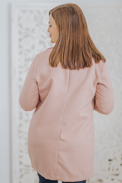 Empower Others Lapel Collar Pockets Long Sleeve Jacket in Rose - Filly Flair
