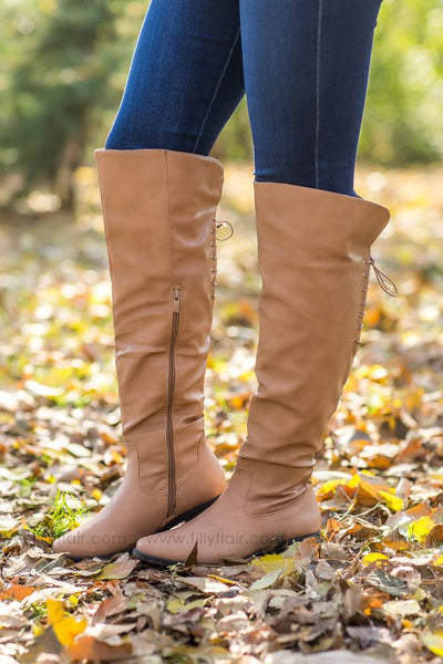 Next To Me Tall Lace Up Detail Boots in Tan - Filly Flair