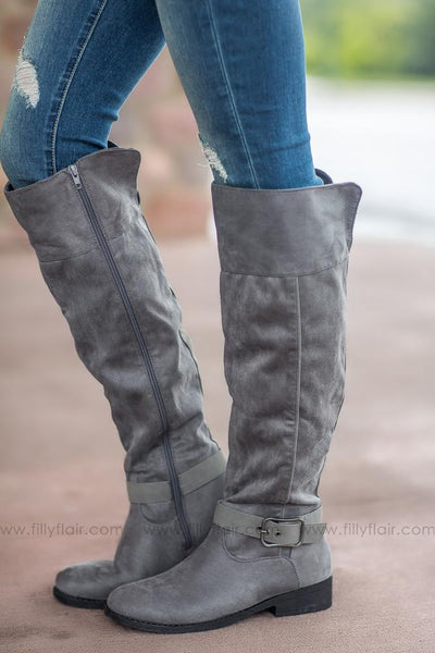 Walk of Life Plateau Grey Tall Boots - Filly Flair