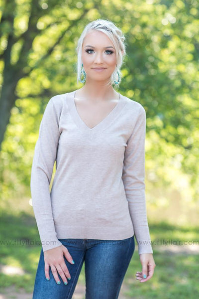 Get Me Through Long Sleeve Sweater in Khaki - Filly Flair