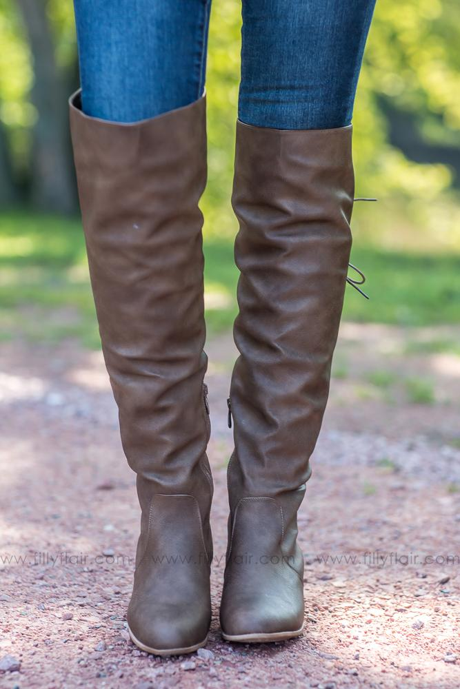 Step by Step Laced Up Tall Boots in Brown - Filly Flair