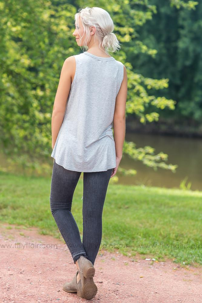 Cow 'Boss Lady' Criss Cross Tank in Heather Grey - Filly Flair