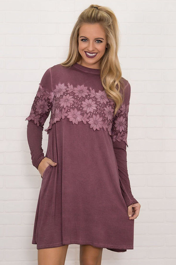 Eyes On You Long Sleeve Lace Mini Dress in Plum