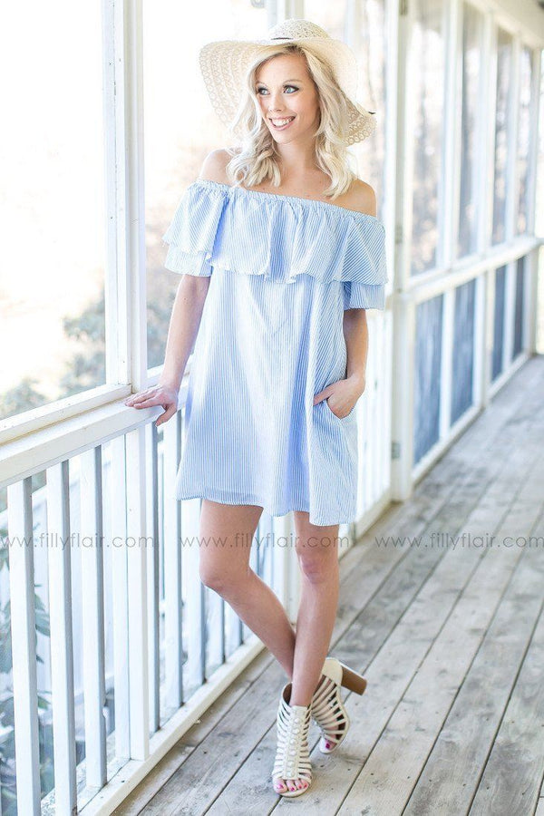 Sweet Tea Striped Off The Shoulder Dress