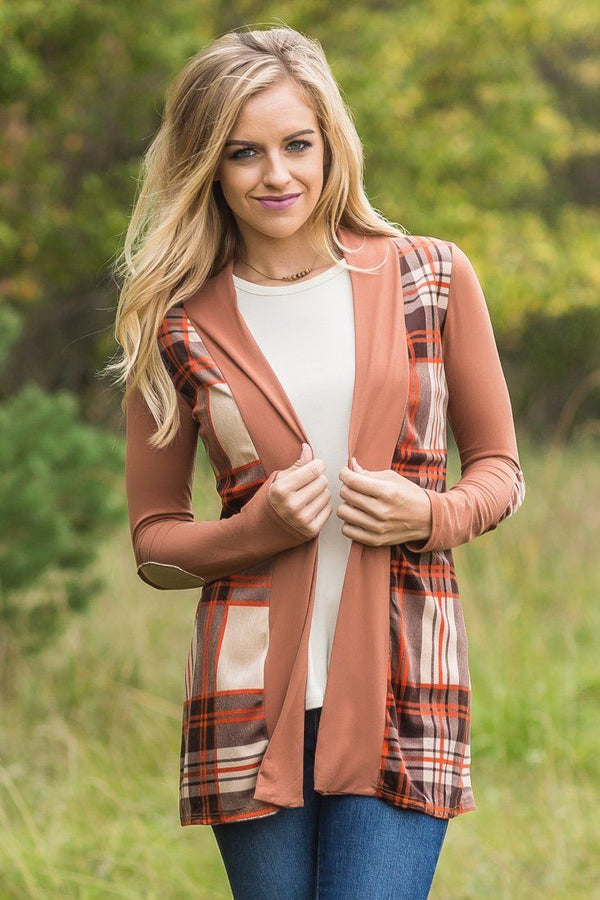 Camel Plaid Suede Detail and Elbow Patch Cardigan