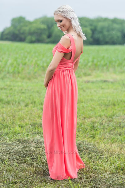 Madison Bridesmaid Dress in Coral - Filly Flair