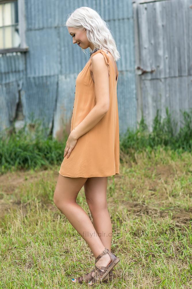 Heart of Gold Tie Strap Button Up Tunic Dress in Camel - Filly Flair