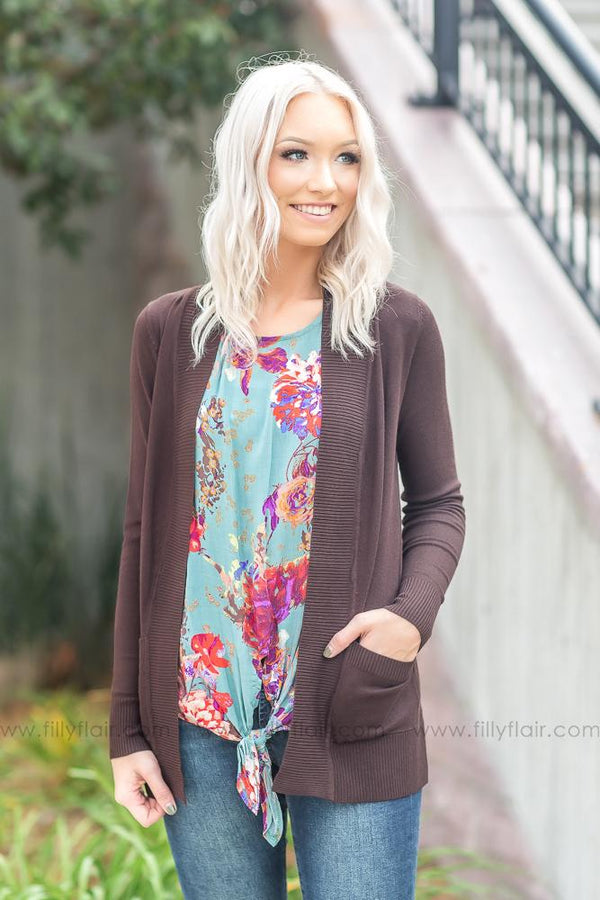 Wildest Dreams Open Short Cardigan With Pockets In Brown - Filly Flair