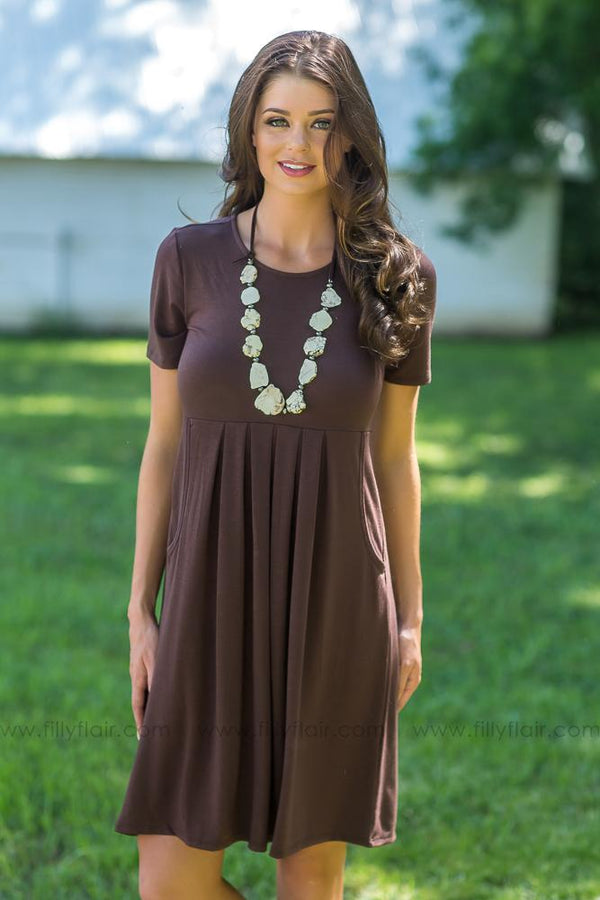 Easy Does it Pleated Pocket Mid Dress in Brown - Filly Flair