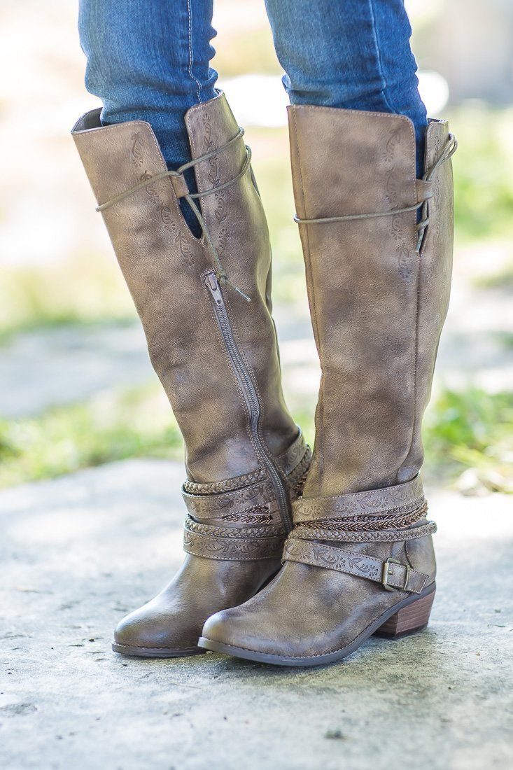 Not Rated Jurupa Taupe Tall Boots