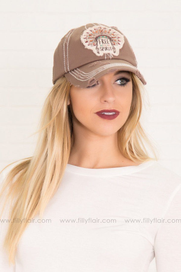 """Free Spirit"" Feather Baseball Hat in Brown"
