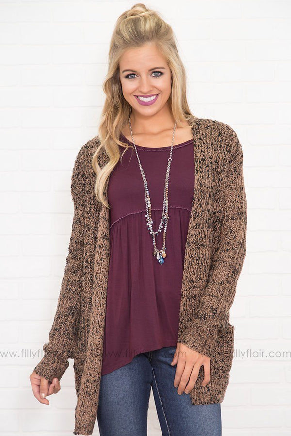Cici Knit Cardigan in Two Tone Brown