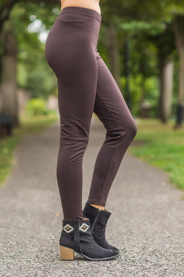 Here To Stay Brown High Waisted Leggings