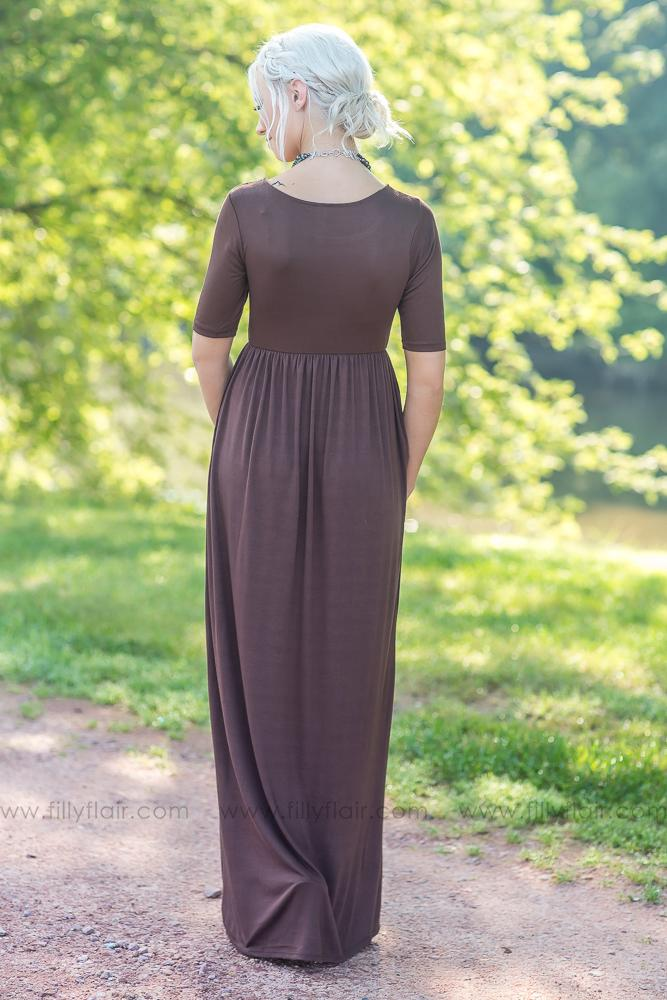 Sweet and Simple Solid Maxi Dress in Brown - Filly Flair