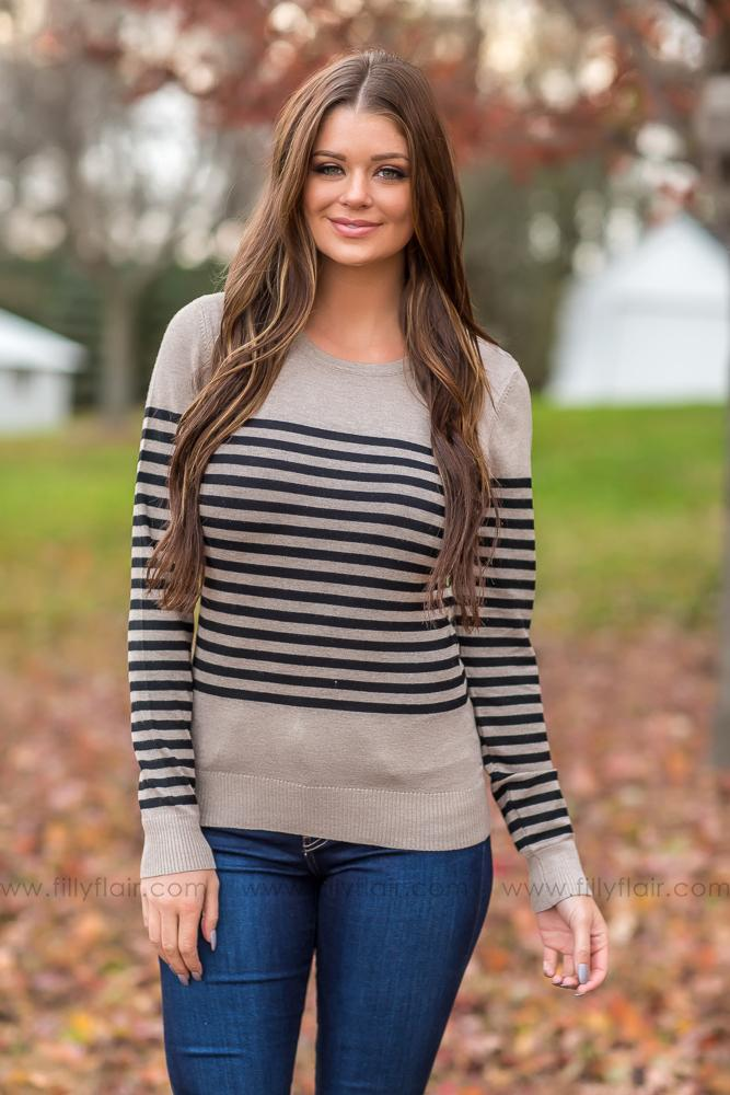 On My Way Striped Sweater In Mocha - Filly Flair