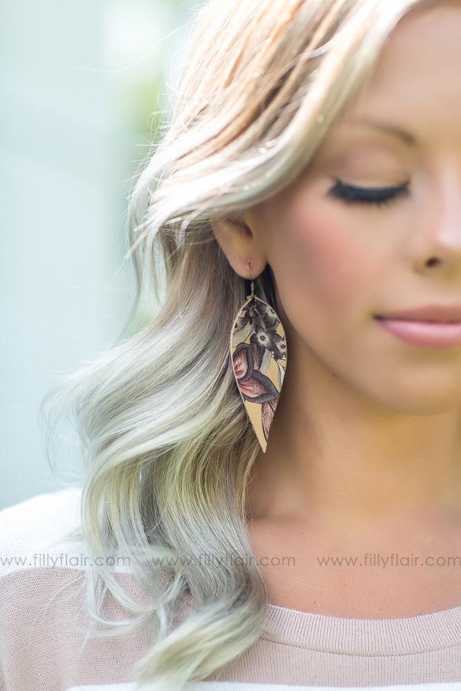 Floral Tan Leather Petal Earrings - Filly Flair