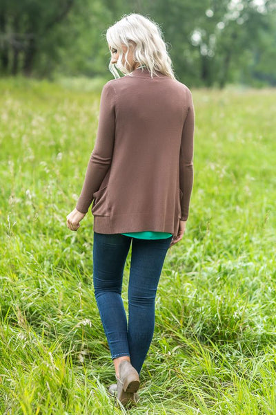 Brown Classic Solid Cardigan - Filly Flair