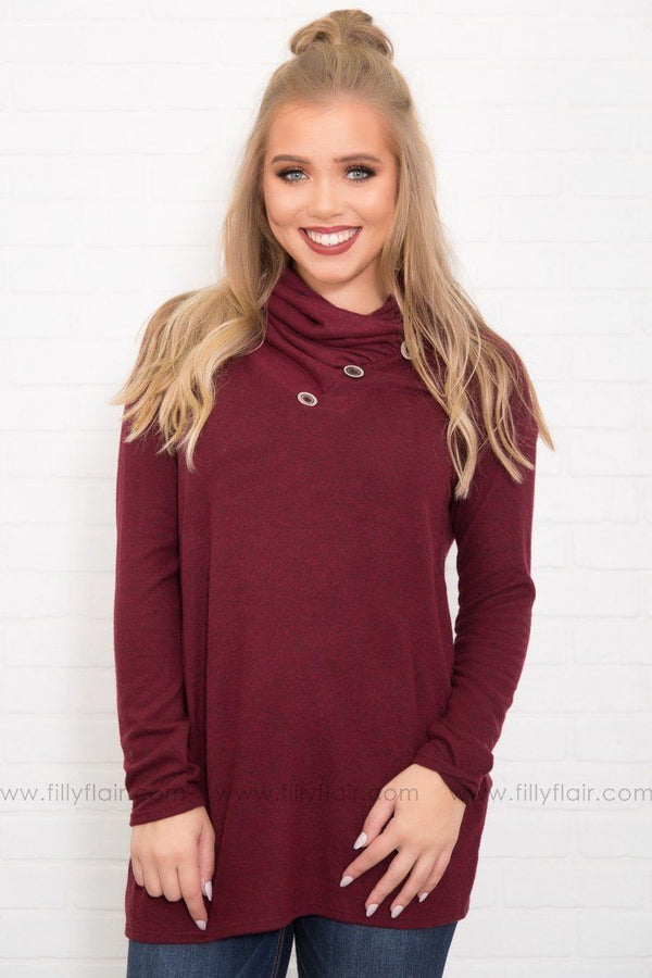 Infinite Button Detail Cowl Neck Long Sleeve in Burgundy