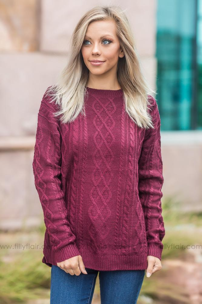Since I Met You Burgundy Long Sleeve Sweater - Filly Flair