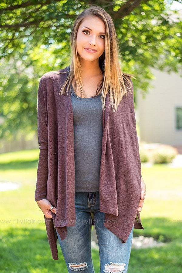 Burgundy Oversized Long Sleeve Cardigan