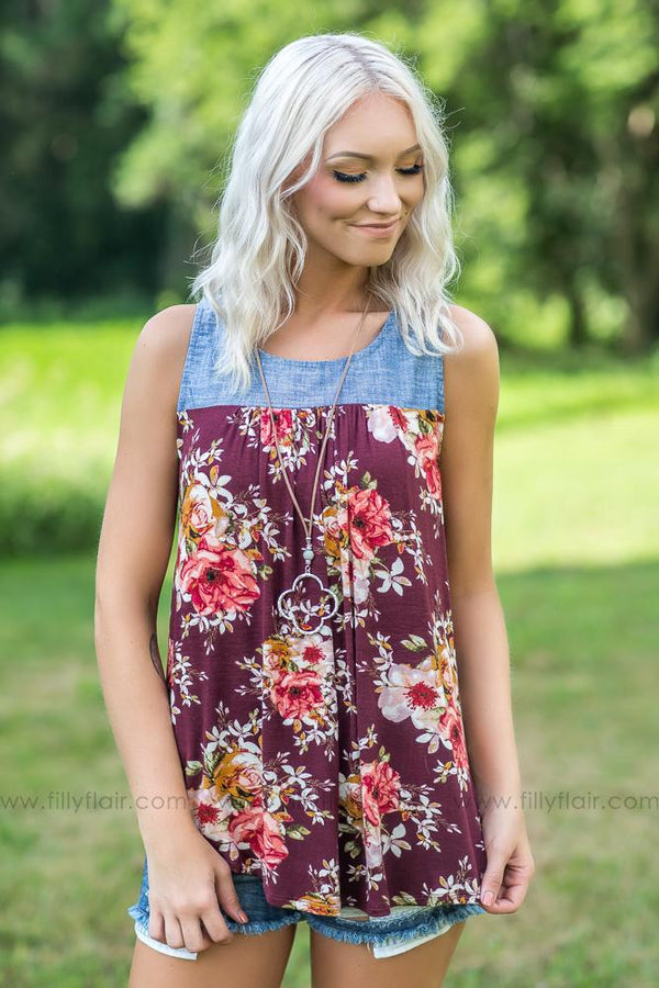Pick You Up Floral on Burgundy  Denim Top - Filly Flair