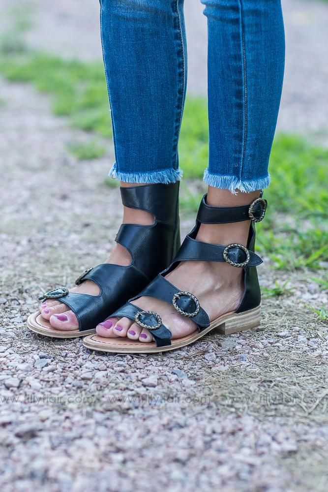You Found Me Gladiator Sandal in Black - Filly Flair