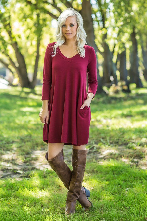 For Your Love V-Neck 3/4 Sleeve Mini Dress In Wine