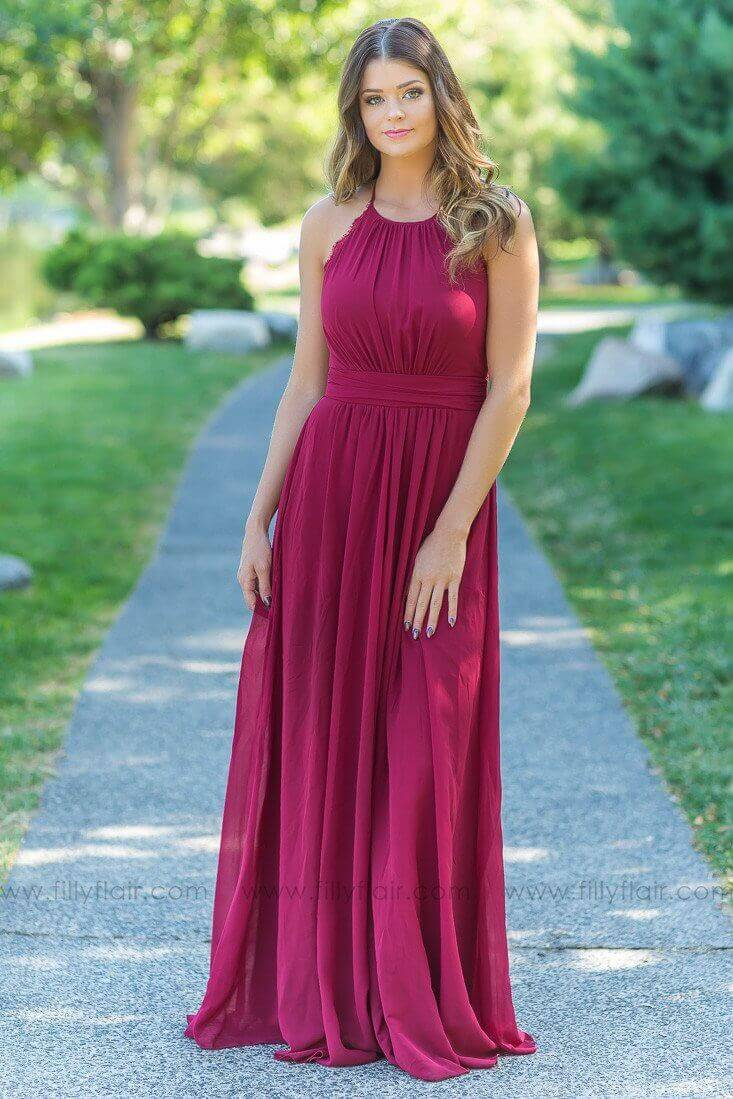 Adeline Bridesmaid Dress in Burgundy with Lace Back - Filly Flair 9c253740b