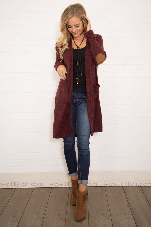Kansas Long Sleeve Suede Elbow Patches Cardigan in Burgundy